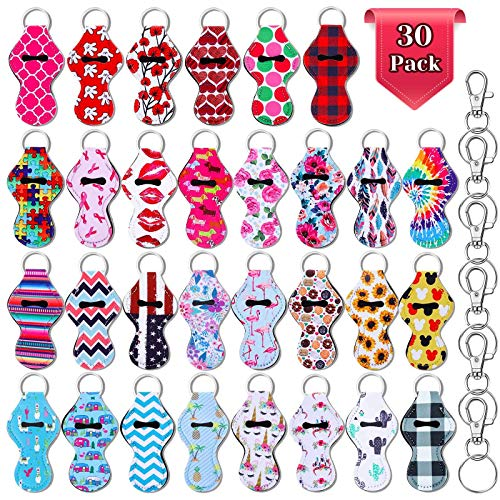 Chapstick Holder Keychain Bulk, Shynek 30Pcs Lip Balm Holder with 30 Sets Keyring Clips for Lipstick, Chapstick, Lip Balm (Assorted Colors)