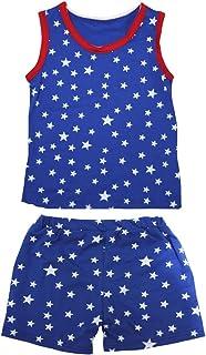Petitebella Girls' Patriotic Stars Red Cotton Shirt Short Set