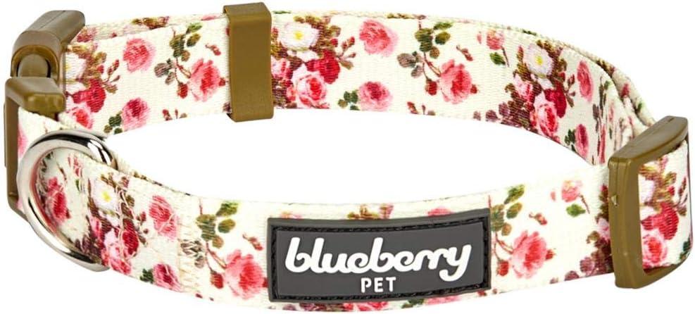 Blueberry Pet 7 Patterns Spring Scent Inspired Pink Rose Print Ivory Adjustable Dog Collar, Medium, Neck 14.5