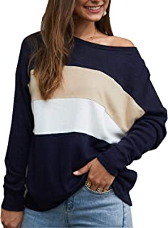 Zandiceno Women's Casual Loose Colorblock Striped Long Sleeve Pullover Sweatshirt Oversized Shirts Tops