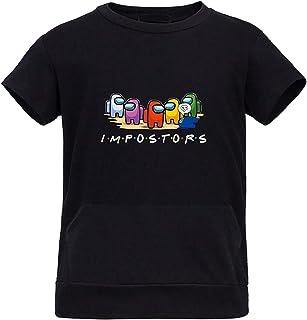Queenromen Among Us T-Shirt mit Känguru-Taschen, kurzärmelig, für Kinder
