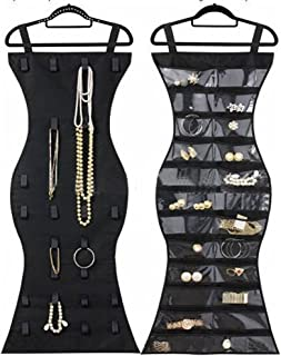 Hanging Jewelry Organizer, Dual Sided Closet Organizers, Earrings Bracelet Necklace Socks Pantyhose Storage Display Bag (Black (24 Pockets & 16 Hook-and-Loop Tabs))