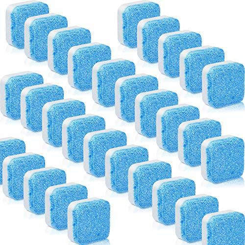 Blulu 30 Piezas Limpiador Sólido de Lavadora Tableta Efervescente Removedor de Limpieza Profunda con Descontaminación Triple para Baño Habitación Cocina
