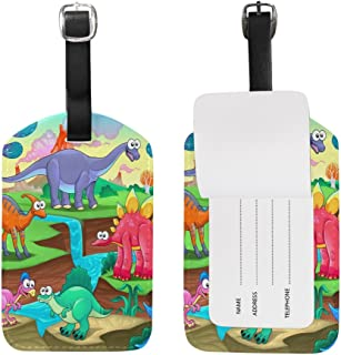 Mydaily Funny Dinosaurs Cartoon Kids Luggage Tag PU Leather Bag Suitcases Baggage Label
