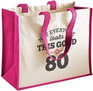 80th Birthday Keepsake Gift Bag Present for Women Novelty Shopping Tote