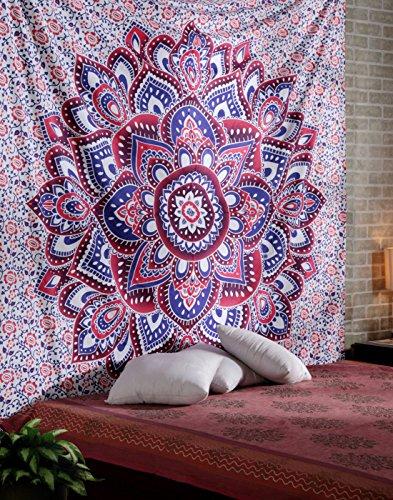 Indisch Mandala Wandteppich Lila und Blau Tapisserie Groß Baumwolle Wandbehang Lotus Tapestry Von Rajrang