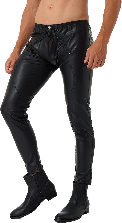 Loloda Men's Faux Leather Skinny Leggings Zipper Pouch Long Pants Trousers Nigth Club