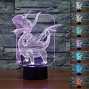 3D Illusion Pterosaurs Dragon Night Light,7 Colors Gradual Changing Touch Switch USB Table Lamp for Kids Gift or Home Decorations