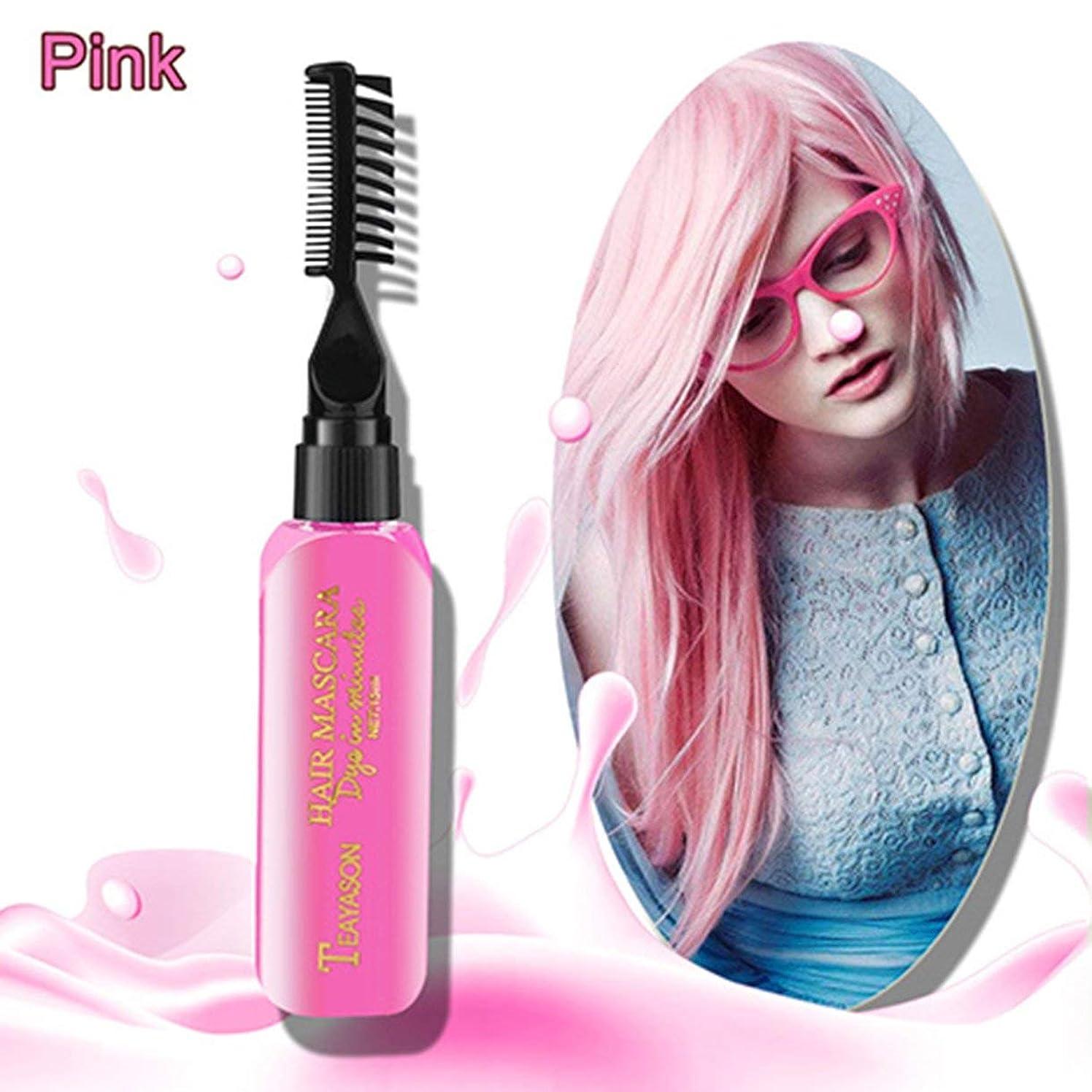 アウター評判静かにブランドDiyの新しい染毛剤の色は痛みを伴わず、簡単にきれいにできます非毒性の一時的な一時的なマスカラヘアクリーム13色-ピンク
