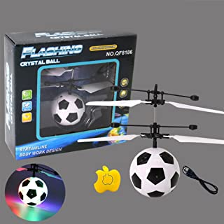 LED Remote Flying GlobeQiyun Soccer Flying RC Drone Helicopter Infrared Induction Mini Aircraft for Kids/Teenager style:Football with remote control