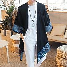 Japonés Kimono Hombres Chaqueta De Punto For Hombre De La Chaqueta Masculina Haori Samurai Ropa Traje De Kimono Yukata Kimono Yukata Haori Camisa ZZBiao (Color : 1, Size : M)