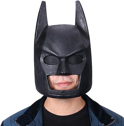 QQWE Batman Helm Maske Cosplay Maske Halloween Show Film Spiel Requisiten SchwarzPVC Kopfbedeckung,schwarz-OneGröße
