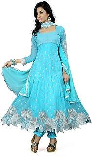 Prabhuta Enterprise Women's Georgette & Santoon & Chiffon Semi-stitched Salwar Suit (PE564_Blue_Free Size)