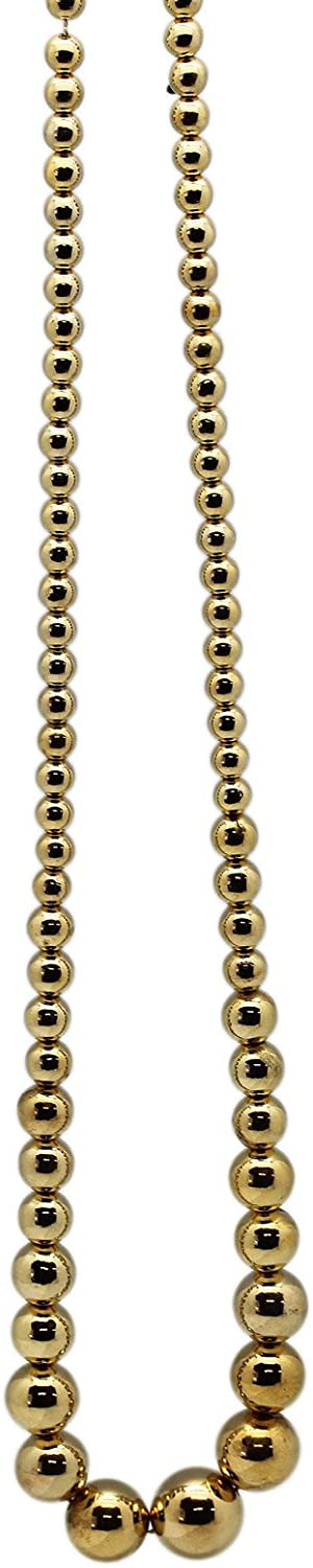 golden Round Pearl Bead Necklace (30 Inch)