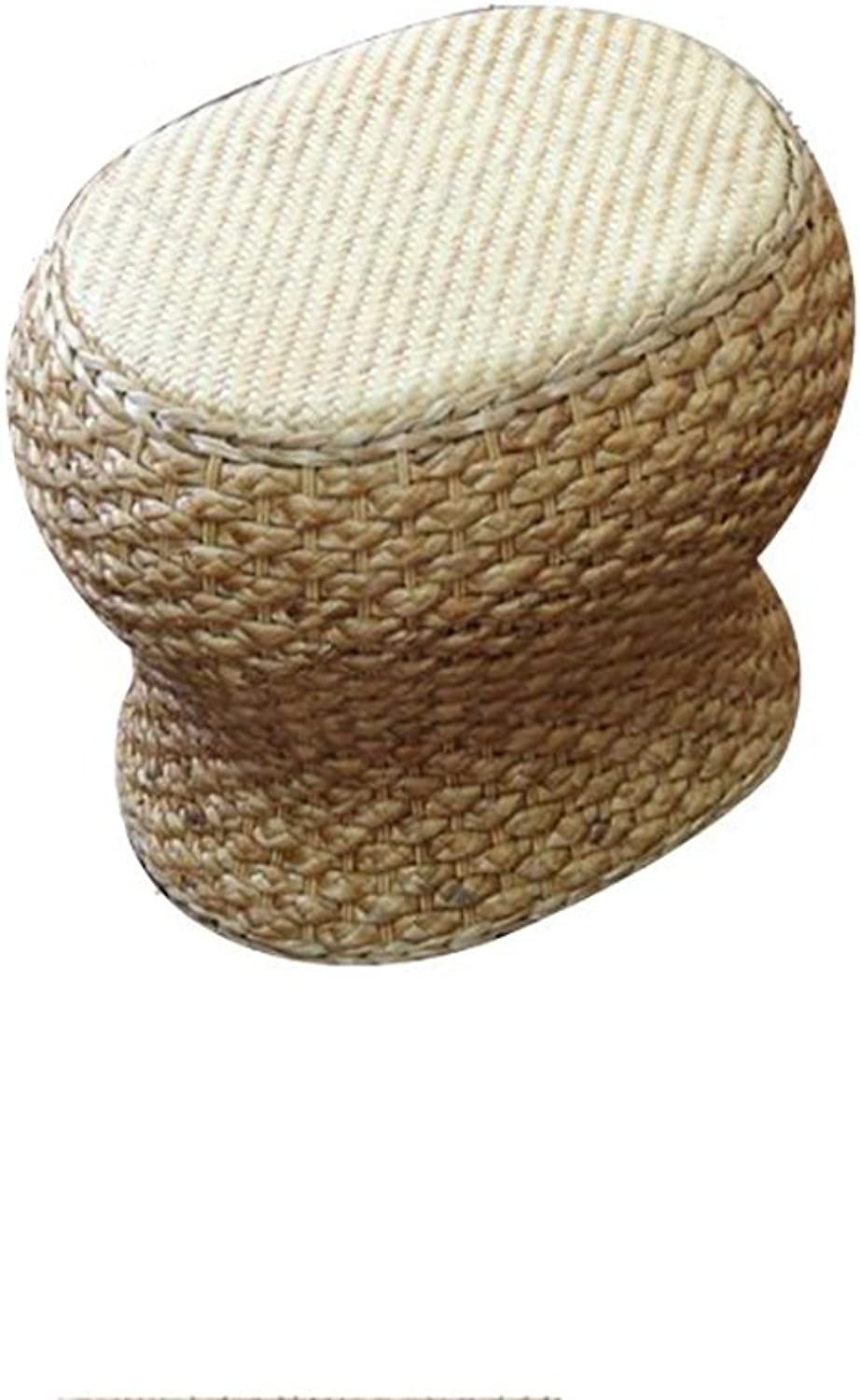 LXP Footstool Stool Hand-Woven Rattan Stool Oval Thick Cushion Cool Absorbent Fashion Creative Beauty Stool Suitable for Living Room bedrooms