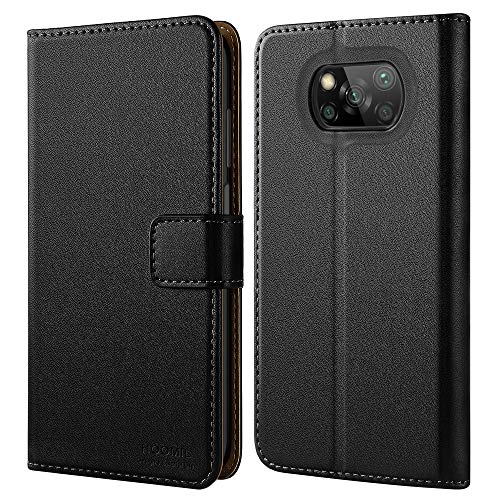 HOOMIL Handyhülle für Xiaomi Poco X3 NFC Hülle, Xiaomi Poco X3 Pro Hülle Leder Tasche Flip Hülle Schutzhülle Schwarz