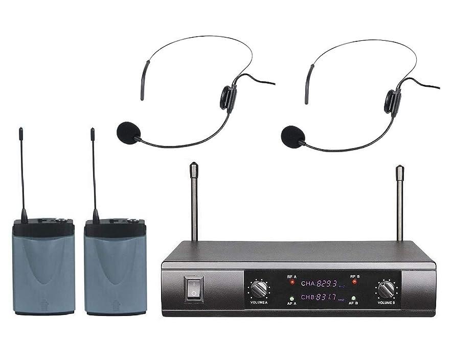 Boly UHF Dual Wireless Microphone System 2 Cordless Headset Headworn mic Microphone