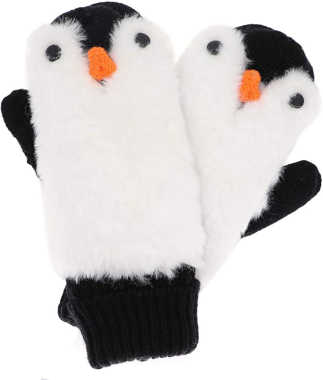 Women Penguin Mitten Gloves Winter Warm Lining Cozy Knit Pluffy Fuzzy Faux Fur Mitten