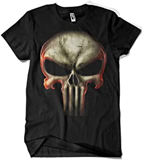 Marvel Comics con cuello redondo color Negro Dise/ño original con licencia Camiseta unisex del Castigador Punisher Logoshirt