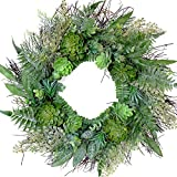 idyllic 22 Inches Artificial Wreath Farmhouse Spring Greenery Succulent Wreath for Front Door Home Office Decoration with Leaves Swags and Garlands Real Twig Based