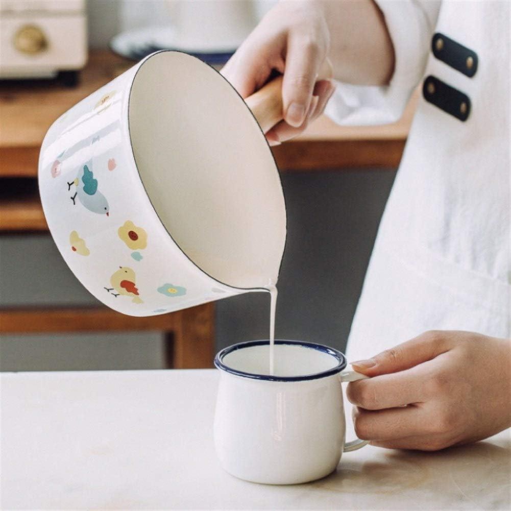 Lait Pan Petit Pot À Lait Thé Café Oeuf Boiling Pot Émail Poignée En Bois Bébé Complément Alimentaire Pot Facile Nettoyer Émail Stock Pot cadeau (Couleur : Blanc) Blanc
