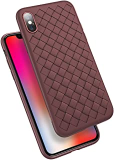 Compatible Apple iPhone Xs Max Case, ANERNAI Ultra Thin Shockproof Weave Breathable TPU Shell Leather Silicon Matte Thermal Dissipation Flexible Cover (Chocolate)