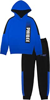 PHIBEE Boys' Fleece Pullover 2 Pieces Hoodie Jogger Set