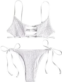 ZAFUL Women's Smocked Bikini Sexy Keyhole Shirred Spaghetti Strap Thong Cheeky Bathing Suits