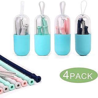 Pajitas Reutilizables Silicona Plegable Flexible Pajitas de Beber Paquete de 4 Colores 20CM Paja con Estuche y Cepillos de Limpieza Silicona de Grado Alimenticio FDA Aprobado Sin BPA