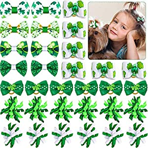 32 Pieces/ 16 Pairs St. Patrick' s Day Dog Hair Bows Green Shamrock Hair Bows Dog Curve Bows Mixed Styles Puppy Hair Bows Cat Dog Rhinestone Hair Bows with Rubber Bands Pet Grooming Accessories
