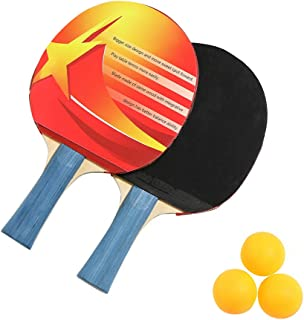Ping Pong Paddle Set with Premium Balls and Portable Storage Bag Included, Professional Table Tennis Racket Set