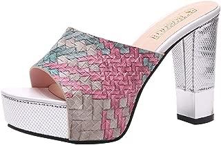 Women Ladies Wedge Platform Sandals,Mixed Colors High Heel Chunky Heels Open Toe Wide Width Dressy Pumps Shoes Slippers
