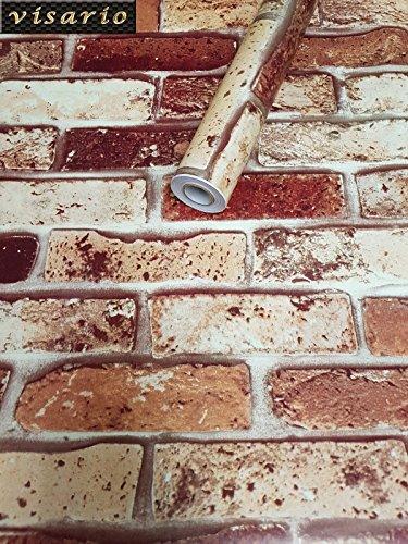 Visario Tapeten Folie 3000-S selbstklebend 10m x 45cm 5 Motive Steinoptik Steine Ziegel Dekorfolie Möbelfolie Tapete 3014