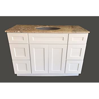 New White Shaker Single sink Bathroom Vanity Base Cabi48