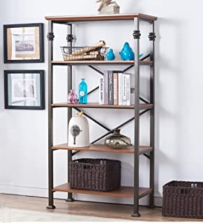 O&K FURNITURE 5 Shelf Open Bookcase Furniture, Industrial Wood and Metal Book Shelf for Home Office, Maple