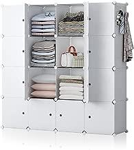 YOZO Modular Closet Portable Wardrobe Dresser Teens Kids Chest Drawer Ployresin Clothes Storage Organizer Cube Shelving Unit Multifunction Toy Cabinet Bookshelf DIY Furniture, White, 16 Cubes