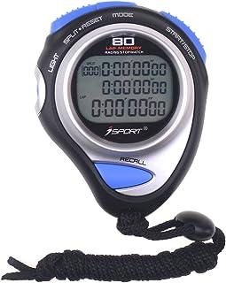Cronómetro digital con tres filas de pantalla de atletismo de carreras, cronómetro con 80 ranuras de memoria para entrenad...