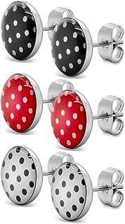 Soul-Cats® 3 paire SET clou d'oreille avec points, Polka Dots 50s Pinup, couleur: rouge avec points, couleur: Set 3 couleurs