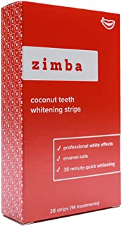 Zimba Professional Teeth Whitening Strips - 28 Strips, 14 Treatments - With Natural Coconut Oil - Enamel-Safe, Reduced Sensitivity, Advanced Formula - Non-Slip, Premium Grip Technology (Coconut)