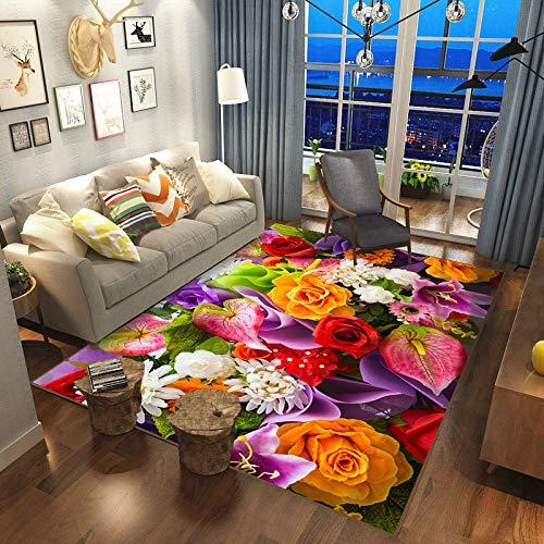 Hogar Moderno Y Simple Flor De Rosa Sala De Estar Alfombra Sofá Mesa De Centro Tapetes Tapetes Lavables para Dormitorio, Alfombras para Mascotas