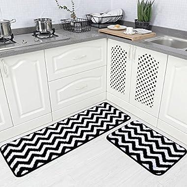 Carvapet 2 Pieces Microfiber Chevron Non-Slip Soft Kitchen Mat Bath Rug Doormat Runner Carpet Set, 17 x48 +17 x24 , Black