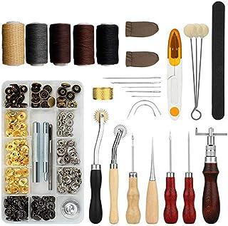 Kit de Gravure sur Cuir Ensemble D'outils en Cuir Faits à La Main Ensemble De Démarrage Novice Outils De Couture