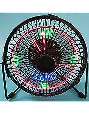 4/6 inch usb LED-ventilator Draagbare Deskventilator met Tijd en Temperatuur Display Persoonlijke Tabel Koelventilator Duurzaam voor thuis en op kantoor (Size : 4inch)