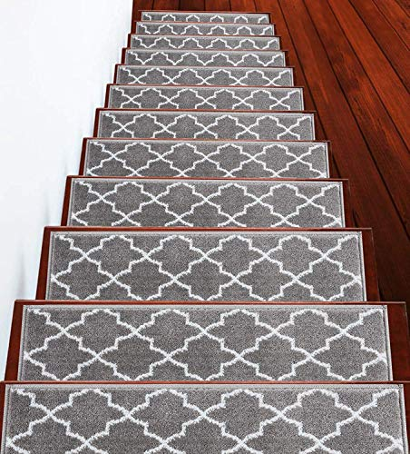 "Stair Treads Trellisville Collection Contemporary, Cozy, Vibrant and Soft Stair Treads | Gray & White, 9"" x 28"" 
