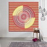 KHKJ Tapiz de Seta de Mandala Bohemio, cabecero de Pared, Colcha de Arte, Tapiz de Dormitorio para Sala de Estar, Dormitorio, decoración del hogar, A4 95x73cm