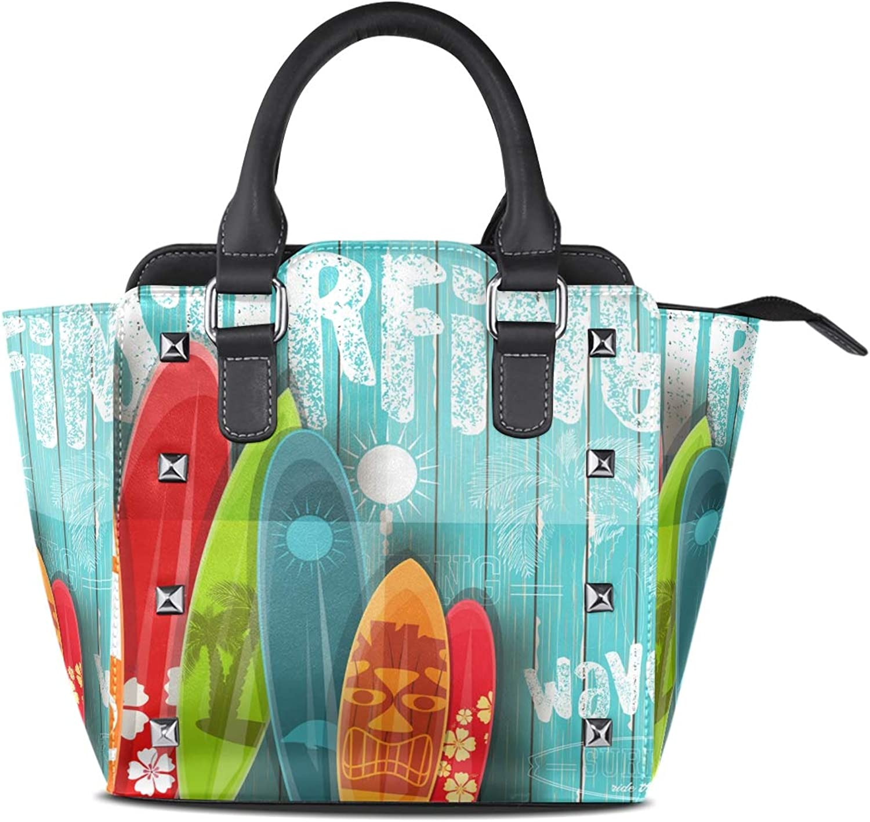 My Little Nest Women's Top Handle Satchel Handbag Vintage Surfboards Ladies PU Leather Shoulder Bag Crossbody Bag