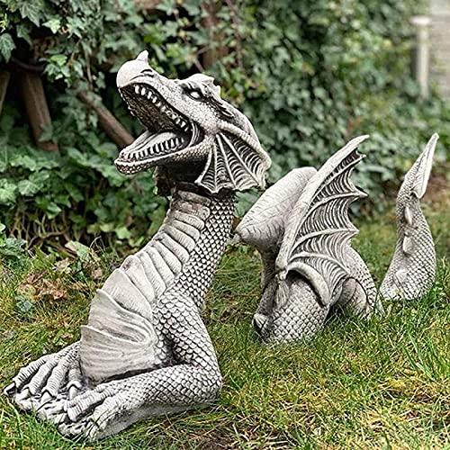 Gran Dragón Gótico Jardín Decoración Estatua, Falkenberg Castle Moat Césped Escultura, Figure Funny Outdoor, Arte del Yard, Frost y Resistente al Invierno (Size : White)