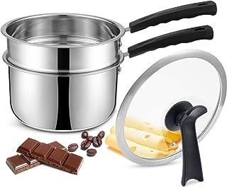 X-cosrack Double Boilers y Olla Antiadherente clásica de Acero Inoxidable, Olla de Vapor para Velas, Mantequilla, Chocolate, Queso, Caramelo y bonificación con Tapa de Vidrio Templado