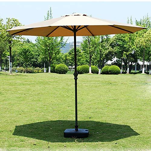 WLOWS 2.7M Ivory Parasol Garden Umbrella Sun Shading | Polyester 200 G/m² (UV 50+)| Crank Mechanism,Khaki-Ironpillar