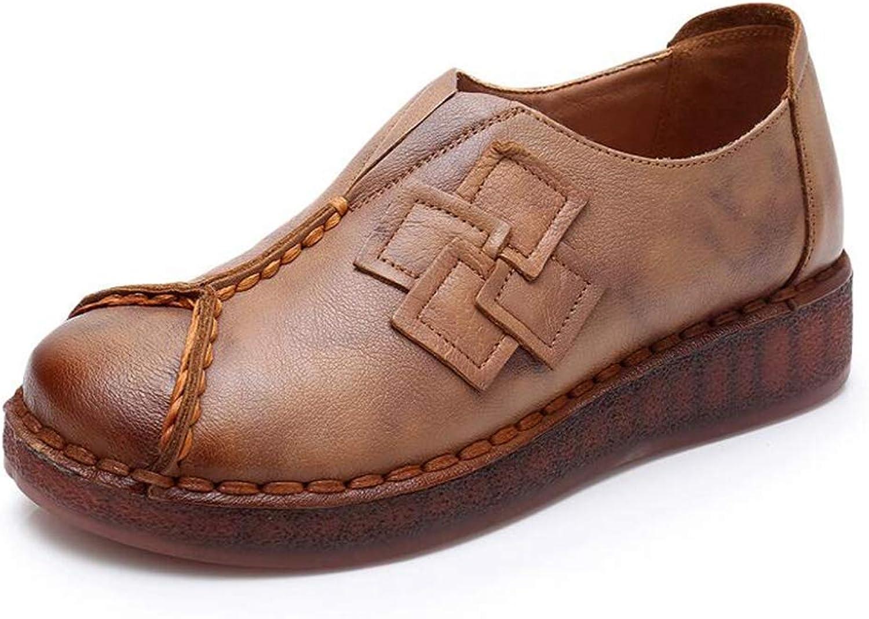 T-JULY Autumn Women Slip On Flat Loafers Walking shoes Fashion Leather Handmade Footwear